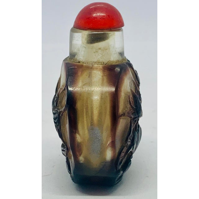Chinese Early 20th Century Antique Carved Overlay Peking Glass Snuff Bottle For Sale - Image 3 of 12