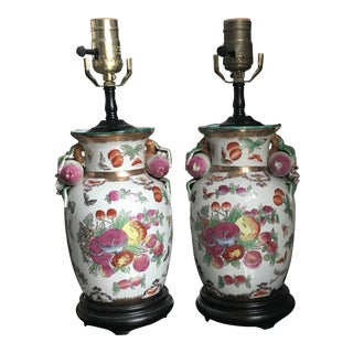 Vintage Pink and Green Chinese Porcelain Chinoiserie Lamps - a Pair For Sale