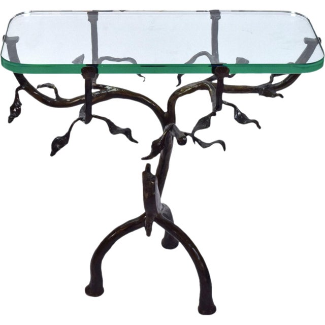 Vintage Twig and Owl Bronze Patinated Iron Table For Sale - Image 9 of 9