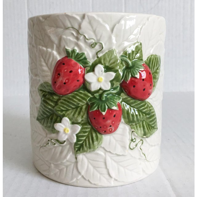 Strawberry Relief Ceramic Cachepot - Image 2 of 7