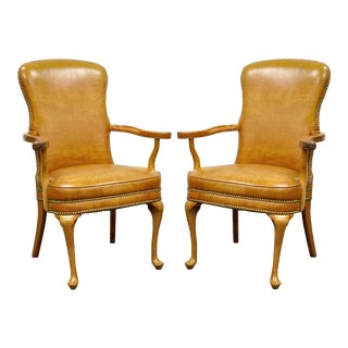 Pair of Vintage Queen Anne Maple Wood Fireside Vinyl Lounge Office Arm Chairs