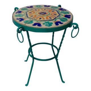 Wrought Iron California Tile-Top Table For Sale