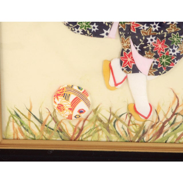 Late 20th Century Vintage Japanese Folded & Cut Paper Art Girl in Kimono Playing Soccer For Sale - Image 5 of 9