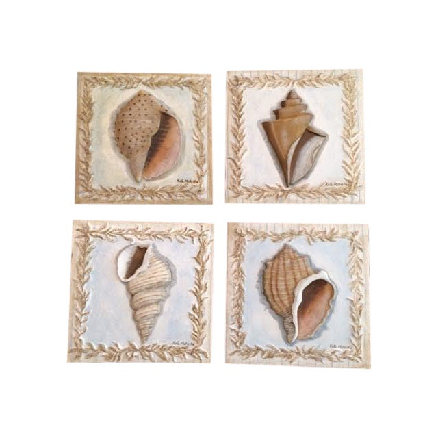 Kate McRostie Shell Wall Plaques - Set of 4 For Sale