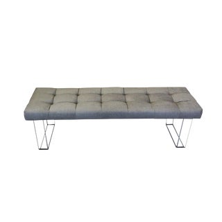 60 Inches Infinity Style Grey Velvet and Lucite Bench