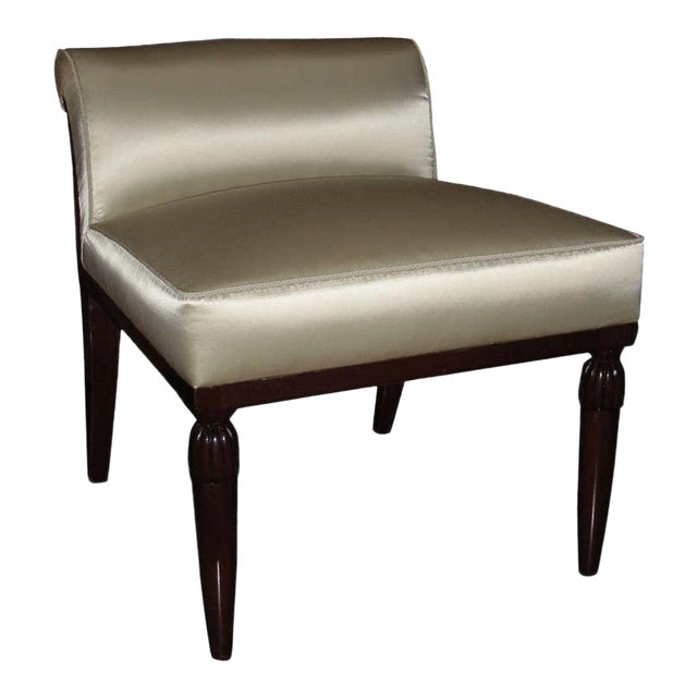 Paul Follot Lady Vanity Chair With Carved Leg and Rounded Back For Sale