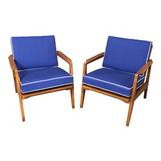 Mid-Century Danish Modern Arm Chairs With Blue Cushions - a Pair For Sale