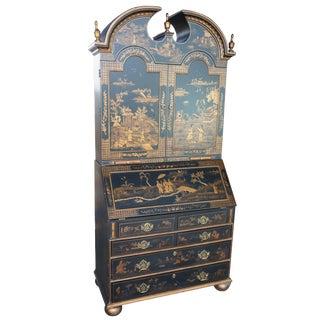 20th Century Chinoiserie Harden Furniture Black & Gold Secretary Desk For Sale
