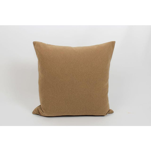 Camel Wool Blend Greek Key Trim Pillows, a Pair For Sale In Atlanta - Image 6 of 8
