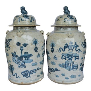 Chinoiserie White & Blue Baluster Temple/Ginger Jars - a Pair For Sale
