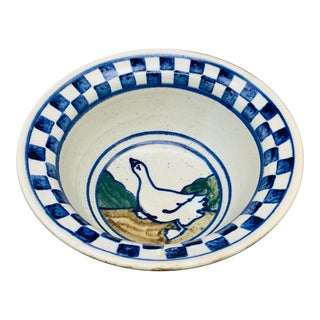 Vintage 1980s Studio Pottery Farmhouse Serving Bowl by Dean For Sale