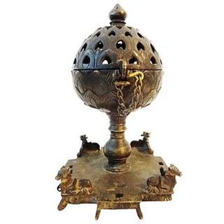 19th-C. Bronze Indian Incense Burner For Sale