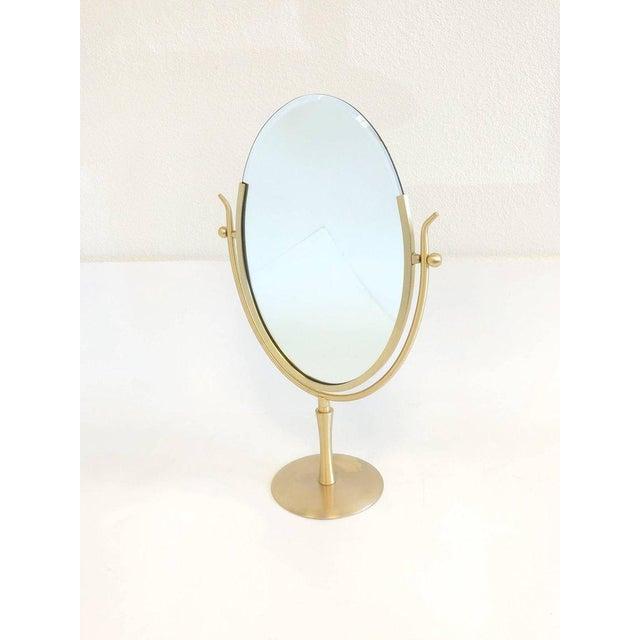 Charles Hollis Jones Satin Brass and Leather Vanity Mirror by Charles Hollis Jones For Sale - Image 4 of 11