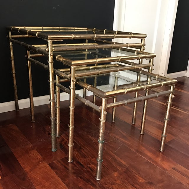 Vintage Faux Bamboo Brass Nesting Tables - Set of 3 - Image 7 of 9