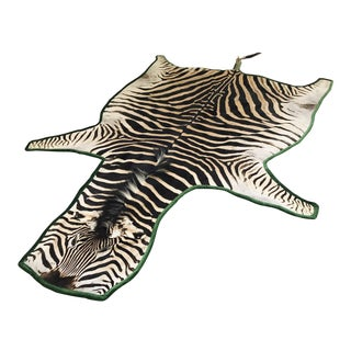 Forsyth Authentic Zebra Hide Rug Trimmed in Emerald Velvet
