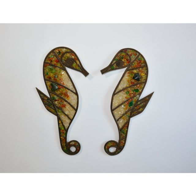 Mid Century Seahorse Wall Hangings - a Pair For Sale - Image 4 of 4