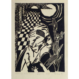 Abstract Woodcut - the Divine Human For Sale