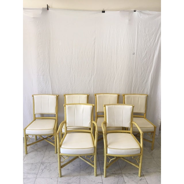 Vintage Daffodil Yellow Rattan Dining Chairs - Set of 6 - Image 2 of 11