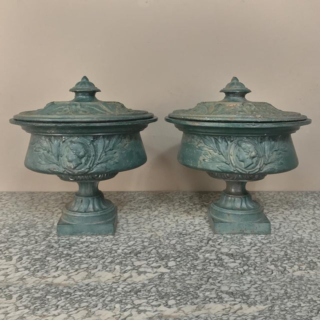 Air 19th Century French Napoleon III Period Iron Garden Urns For Sale - Image 12 of 12