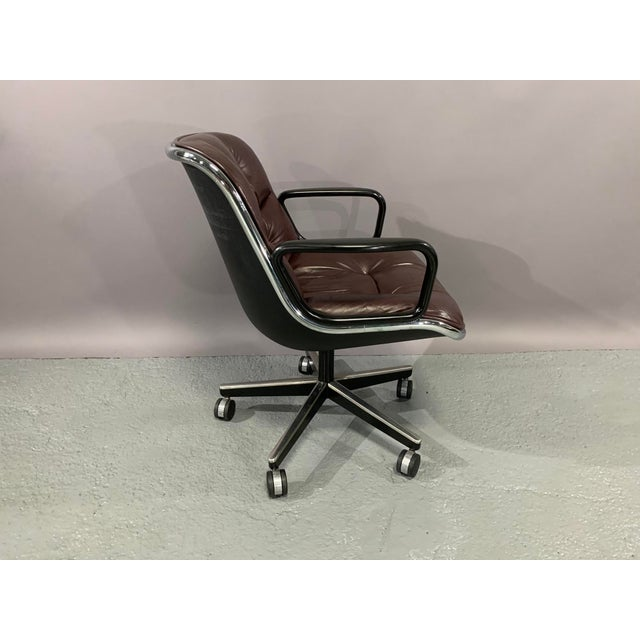 Industrial Cordovan Leather Executive Chair by Charles Pollock for Knoll International For Sale - Image 3 of 10