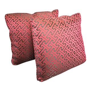 Mediterranean Bernhardt Mulberry and Dark Chocolate Fretwork Pattern Pillows - a Pair, 20 X 20 For Sale