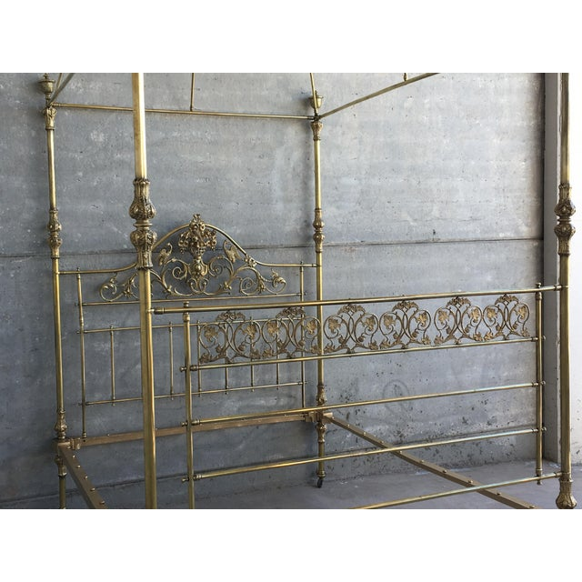 Gold 19th Wide Brass Four Poster Bed With Bird Castings, Ornamental Motifs and Crown For Sale - Image 8 of 13