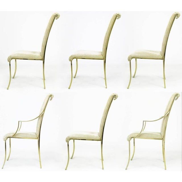 Set of Six Art Deco Revival Brass Dining Chairs by Design Institute of America - Image 2 of 9