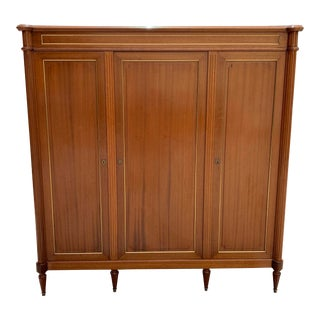1910s French Louis XVI Antique Mahogany Armoire For Sale