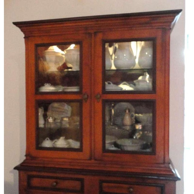 Mahogany Fantastic 19thc Two Piece Walnut Stepback Wall Cupboard For Sale - Image 7 of 9