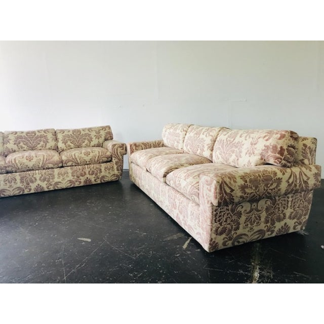 Custom sofas with special order Fortuny fabric. Two sofas available.
