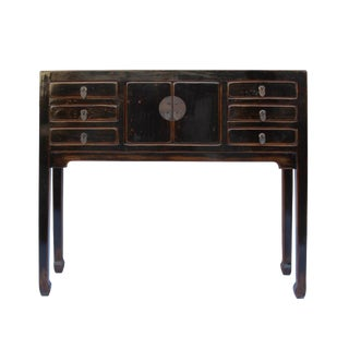 Chinese Oriental Rustic Black Lacquer Drawers Side Table For Sale