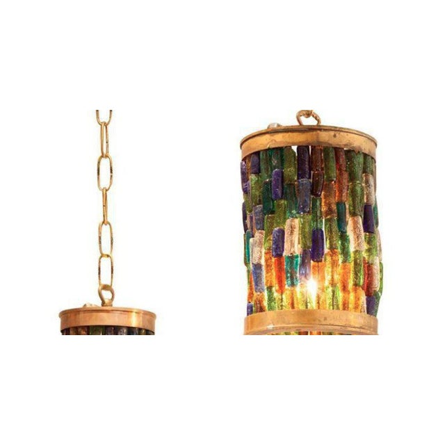 Forced Pair of Midcentury Murano Multi-Color and Brass Pendants - Image 2 of 3