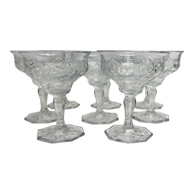 Art Nouveau Rock Crystal Clear Coupe Champagne Glasses by McKee - Set of 8 For Sale