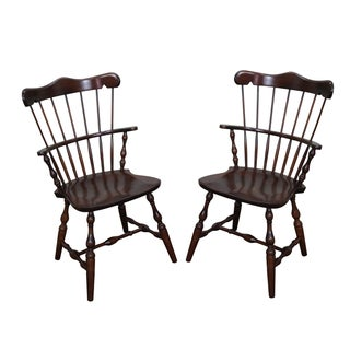 S. Bent Bros Solid Maple Windsor Chairs - A Pair
