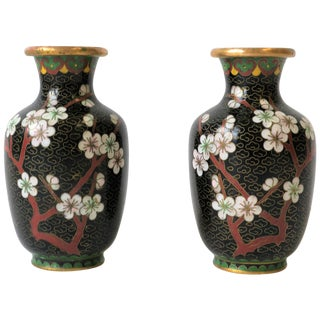 Black White and Ox Blood Cloisonne and Brass Vases For Sale