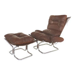 1970s Vintage Ingmar Relling for Westnofa Leather Chair & Ottoman For Sale
