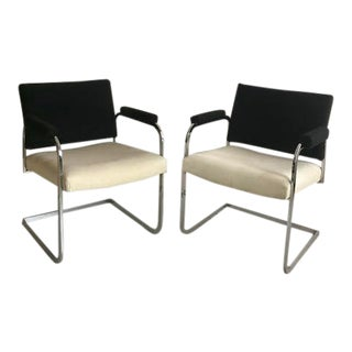 Milo Baughman Style Chrome Lounge Chairs For Sale