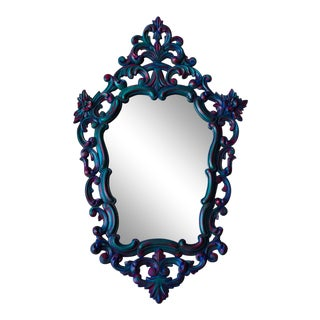 1960s Boho Chic Ornate Bohemian Blue Wall Mirror