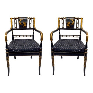 Pair of Regency Style Chinoiserie Arm Chairs by Maitland-Smith For Sale
