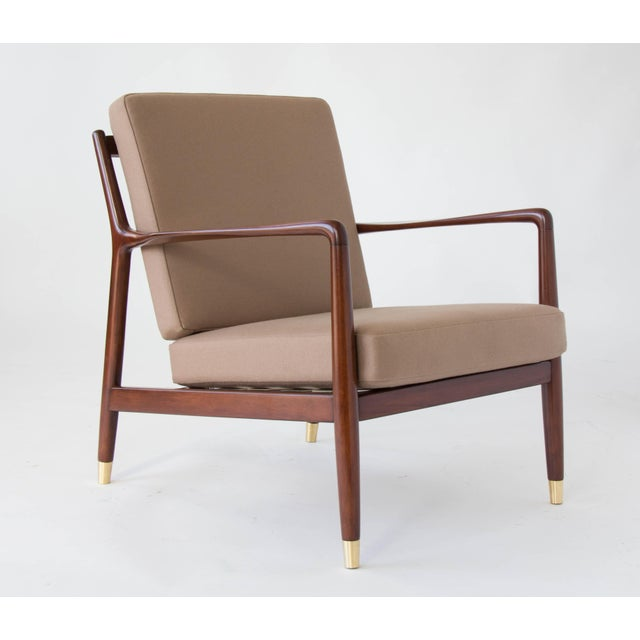1960s Folke Ohlsson for DUX Brass-Capped Leg Lounge Chairs - a Pair For Sale - Image 5 of 9