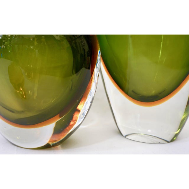 Formia Murano Formia Modern Italian Ovoid Yellow Green Orange Murano Glass Bottles - a Pair For Sale - Image 4 of 11