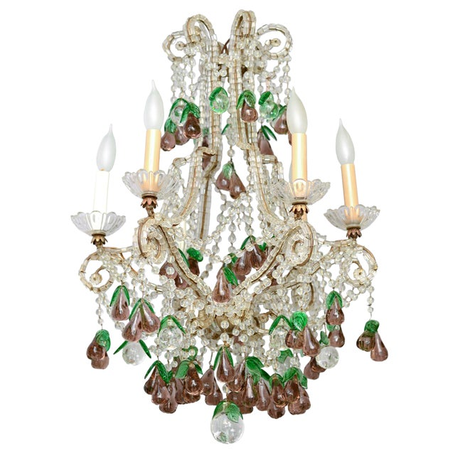 Italian Maria Theresa Six-Light Chandelier Adorned with Amethyst Glass Pears For Sale