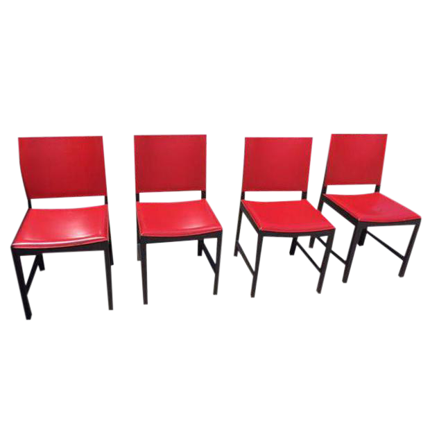 Red Leather Modern Designer Chairs Set of 4 Chairish