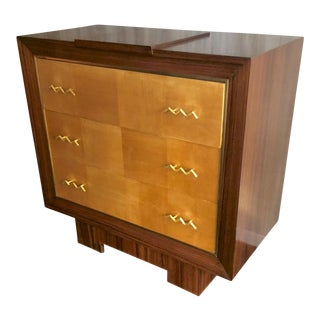 Jean Royere for Gouffe Refined Chest of Drawer With Gold Bronze Wave Handles For Sale