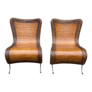 Bentwood and Wrought Iron Chairs - a Pair For Sale