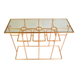 Contemporary Custom Copper Pipe Sideboard Table Console With Glass Top