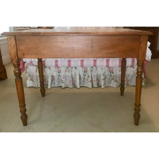 Brown Antique Handmade Worm Wood Table For Sale - Image 8 of 8