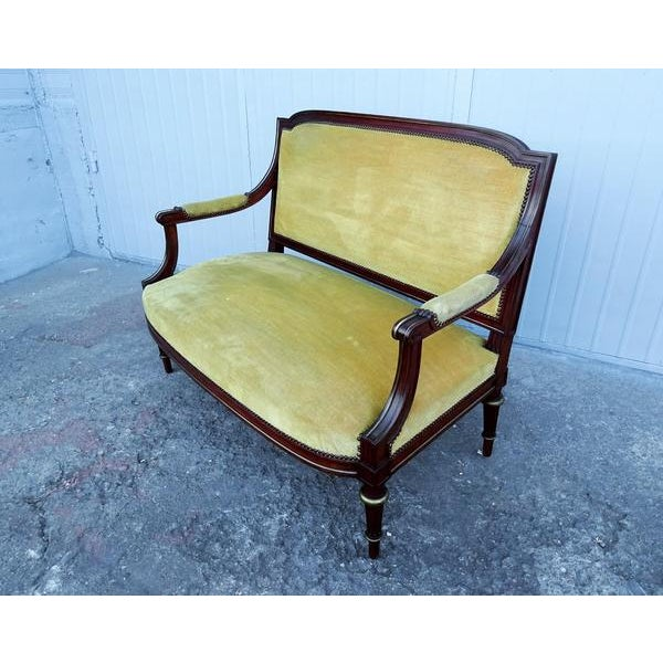 French Antique Napoleon Empire Parlor Set - Armchair Side Chairs and Canape  Settee - 4 Pcs - French Antique Napoleon Empire Parlor Set - Armchair Side Chairs And