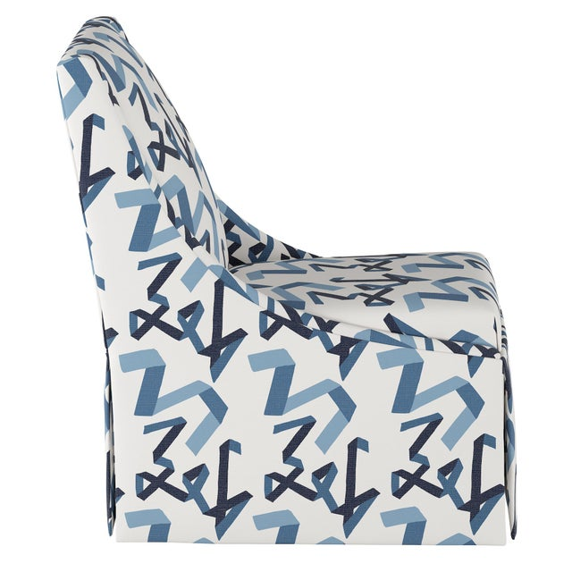 Contemporary Skirted Accent Chair in Navy Ribbon by Angela Chrusciaki Blehm for Chairish For Sale - Image 3 of 7