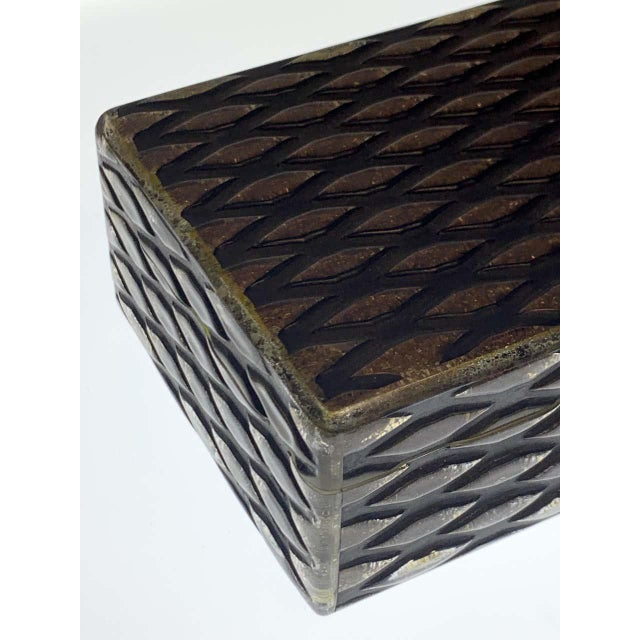 French Art Deco Herringbone Celluloid Box For Sale - Image 11 of 13